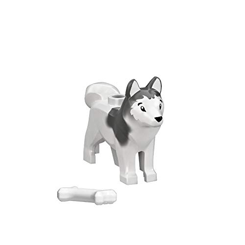 LEGO Animal Minifigure Husky Artic Sled Dog with Bone (Aprox. 1'inch Size) by LEGO