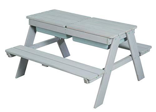 roba Kindersitzgarnitur Outdoor Deluxe mit Spielwannen, abnehmbarer Tischplatte und 2 Kunststoff-Wannen, grau