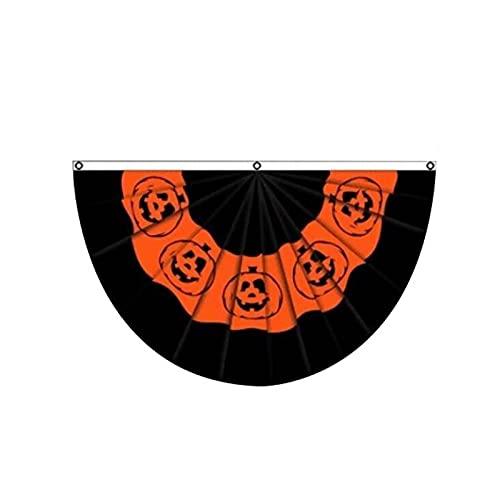 Halbe Flagge Halbrunde Halloween Polyester Kürbis Druck Gefaltet Fan...