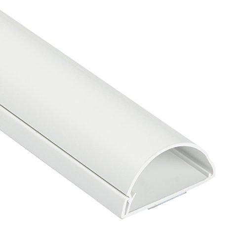 D-Line 1M5025W TV halbrunder Kabelkanal | Kabelabdeckung | 50x25 mm, 1 m Länge - Weiß