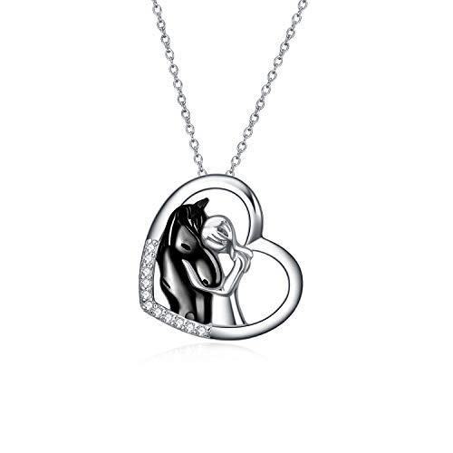 YFN Pferd Anhänger Halskette Schmuck 925 Sterling Silber Mädchen...