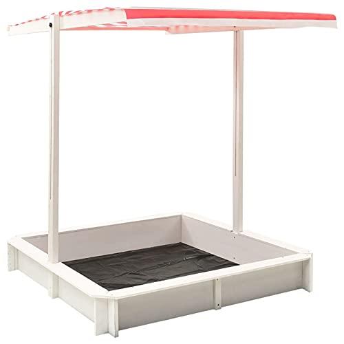 Tidyard Tannenholz Sandkasten mit Verstellbarem Dach Sandbox Sandkiste...