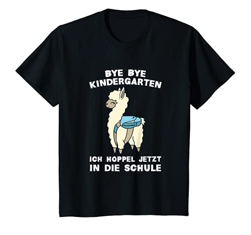 Kinder Bye Bye Kindergarten Schulkind Lama Alpaka Einschulung T-Shirt