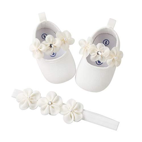 EDOTON 2 Pcs Kleinkind Schuhe+ Stirnband, Baby Mädchen Blumen Schuh...