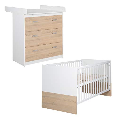 roba Kombi Kinderbett 'Gabriella', 70x140 cm, Babybett bicolor, 3-fach höhenverstellbar, Baby- bzw....