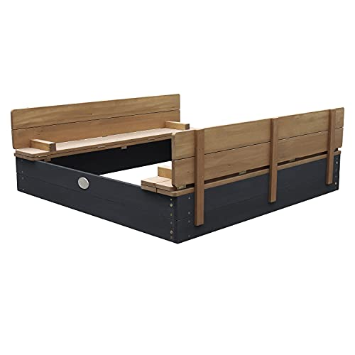 AXI Sandkasten Ella aus Holz mit Deckel XL | Sand Kasten mit Sitzbank...