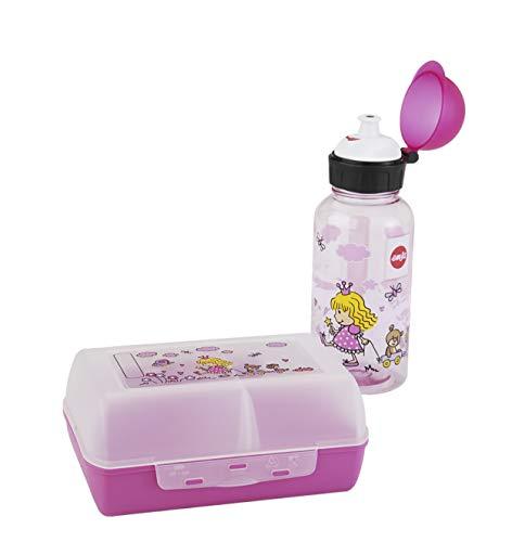 Emsa 518137 Kinder Set Trinkflasche + Brotdose, Motiv: Prinzessin, BPA...