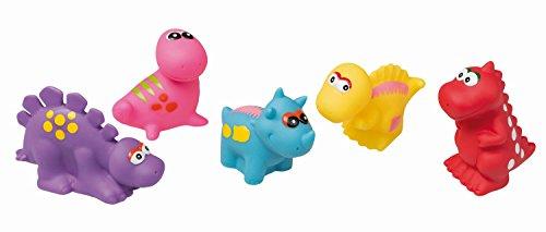 Idena 40459 - Badetiere im Beutel, 5 verschiedene Dino Figuren mit...