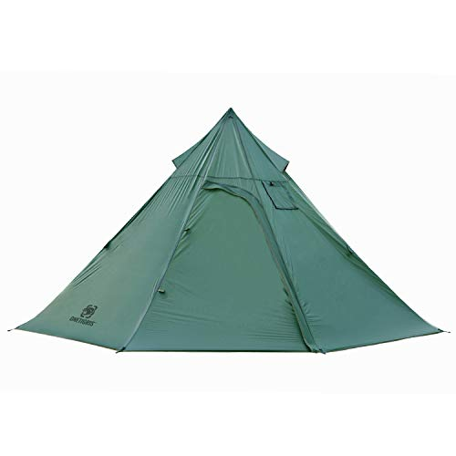 OneTigris| Black Orca Iron Wall Kaminzelt 7-Sided 2-Kammer Single Tipi Zelt für Trekking Camping Outdoor (OD...