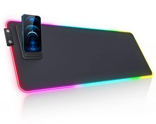 RGB Gaming Mauspad seenda LED Mausepad mit Handyhalter RGB Mausepad...