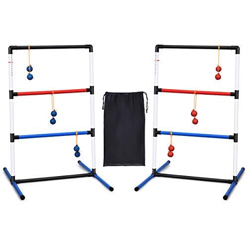 COSTWAY 2er Set Leitergolf Wurfspiel, Laddergolf mit eingebautem Score-Tracker, Leitergolf-Set inkl. Kugeln...