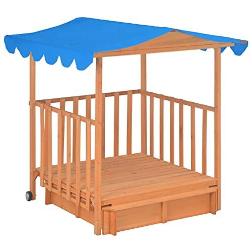 Susany Kinderspielhaus mit Sandkasten und UV-Schutzdach Spielhaus...