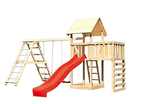 Akubi Spielturm Lotti Doppelschaukelanbau mit Klettergerüst Rutsche...