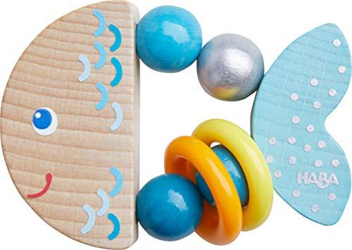 HABA 305582 - Greifling Klapperfisch, Babyspielzeug aus Holz für...