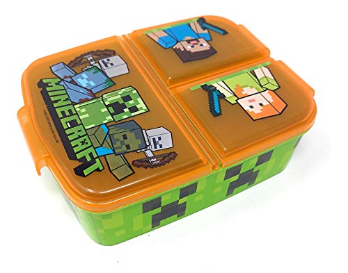 Kinder Brotdose mit 3 Fächern, Minecraft Lunchbox,Bento Brotbox für...