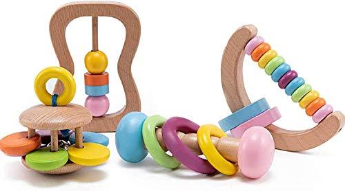 Let's Make 4pc Bio-Kleinkind Holzspielzeug Holz Montessori Baby Rassel...