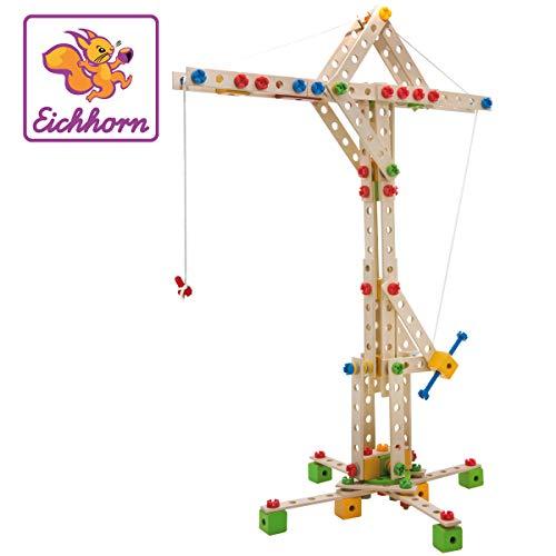 Eichhorn - Constructor Windrad - vielseitiges Holzspielzeug 300 Bauteile, 8 verschiedene Konstruktionen, für...