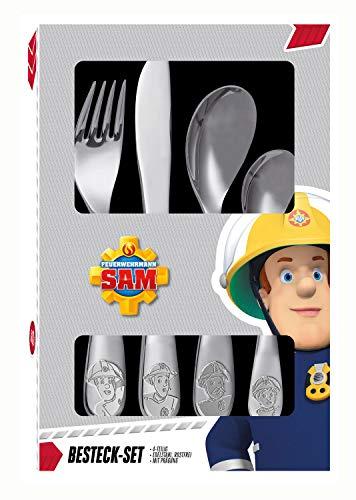 POS 27138 - Besteckset mit Feuerwehrmann Sam Prägung, 4 teiliges Kinderbesteck aus rostfreiem Edelstahl,...