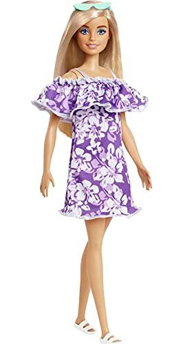 Barbie GRB36 - Loves The Ocean Puppe im lila Blumenkleid, tolles...