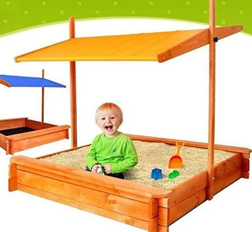 ADGO Holzsandkasten 120 x 120 cm mit Sitzen und...