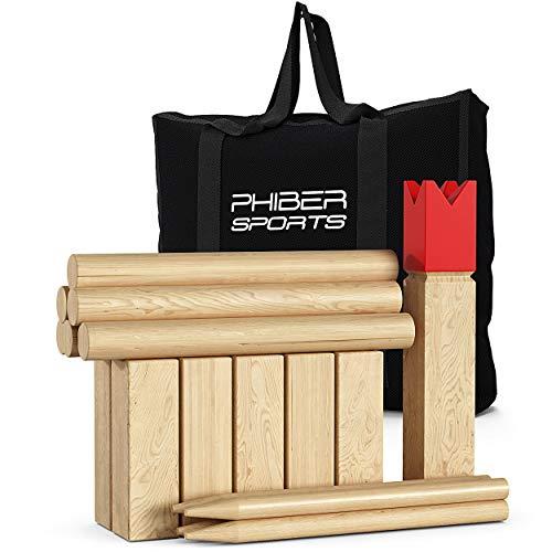 PHIBER-SPORTS Kubb Wikinger Spiel aus Holz in Premium Qualität –...