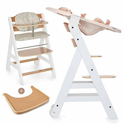 Hauck Beta Plus Newborn Set - Baby Holz Hochstuhl ab Geburt mit Liegefunktion/inkl. Aufsatz für Neugeborene,...