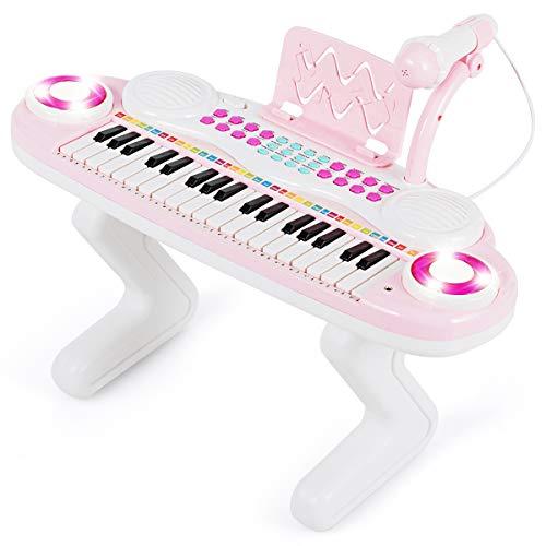 COSTWAY 37 Tasten Klaviertastatur mit Licht, Kinder Keyboard mit...