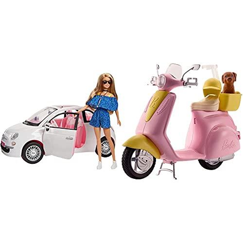 Barbie FVR07 - Puppe und FIAT 500 Auto in weiß und...