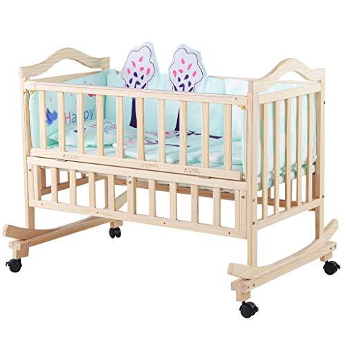 Massivholz Wiege Bett, Baby Unlackiert Umweltschutz Babybett Multifunktions Neugeborenen Shaker, 105-120 CM...