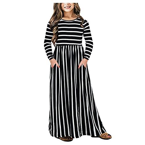 Kleider für Mädchen Festlich Langarm Gestreiftes Gedrucktes Kleid...
