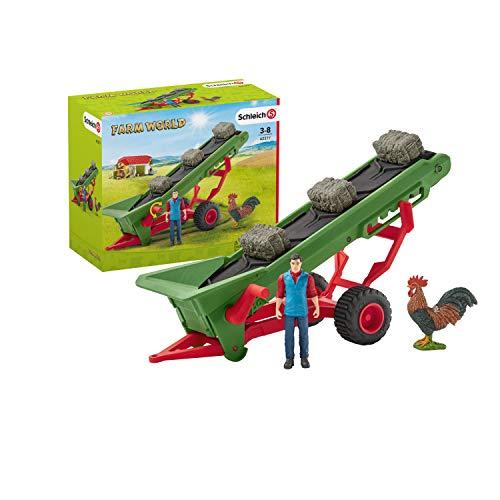 Schleich 42377 Farm World Spielset - Heuförderband mit Bauer,...