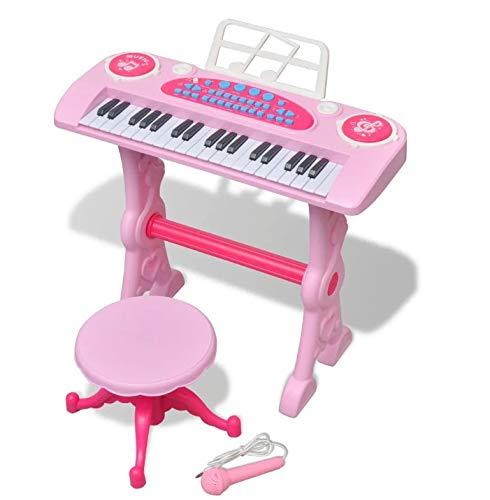 Zerone Kinder-Klavier mit 37 Tasten, mit Mikrofon und Hocker, Rosa