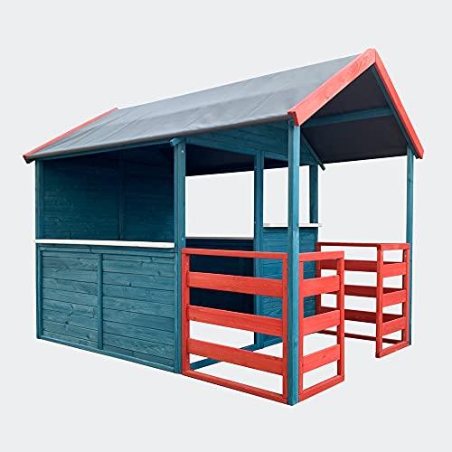 Kinderspielhaus XL 146x195x156cm mit Wohnbereich und Veranda,...