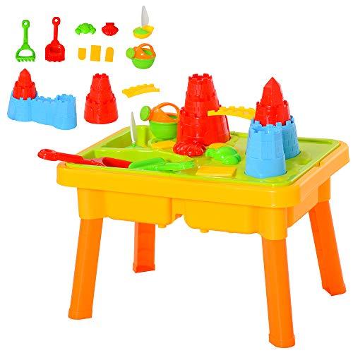 HOMCOM Kinder Sandspielzeug Sandkastentisch mit 23-tlg....