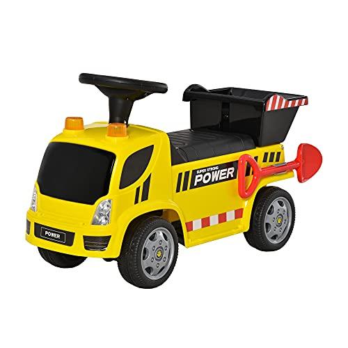 HOMCOM Sitzbagger für Kinder Rutscherfahrzeug mit Kippen Eimer und...