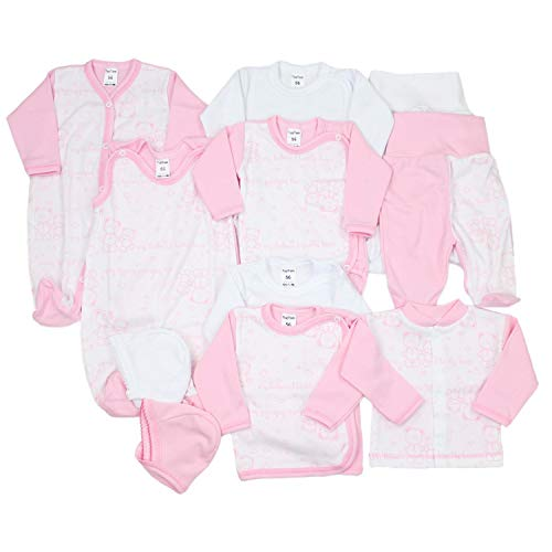 TupTam Unisex Baby Erstausstattung Bekleidungsset 11 teilig, Farbe: Rosa/Weiß, Größe: 56