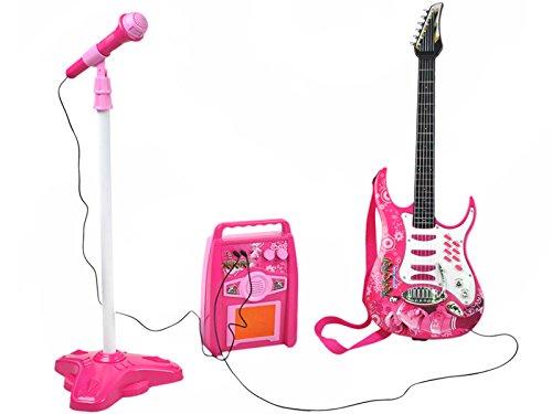 ISO TRADE E-Gitarre + Verstärker + Mikrofon mit Ständer Rosa Set...