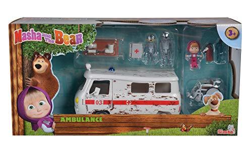 Simba 109309863 - Mascha und der Bär Spielset Krankenwagen 20 cm