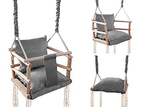 ISO TRADE Babyschaukel Kinderschaukel Holz Stoff Babysitz Baby Schaukel zum Aufhängen 3 in 1 Rosa Grau 8336 ,...