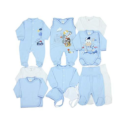 TupTam Unisex Baby Erstausstattung Bekleidungsset 11 teilig, Farbe: Blau Hündchen, Größe: 62