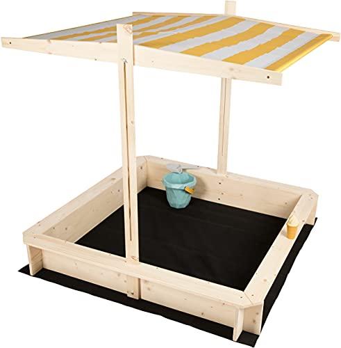 needs&wants Sandkasten mit Dach Sitzbank und Boden Vlies-Folie,...