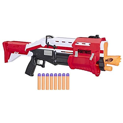 Hasbro Nerf E7065EU4 TS Pump-Action Blaster, 8 Nerf Mega Fortnite...