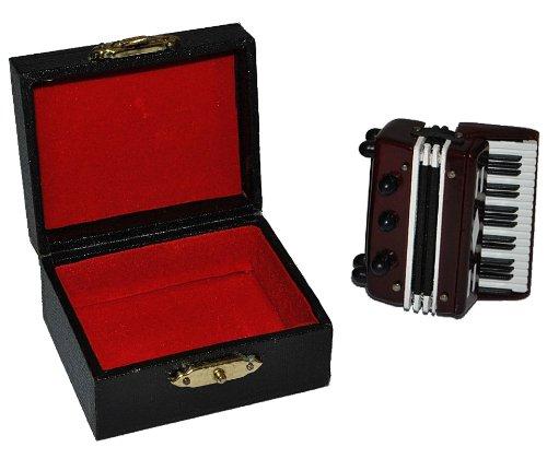 alles-meine.de GmbH Akkordeon mit Kasten - Holz Miniatur Maßstab 1:12...