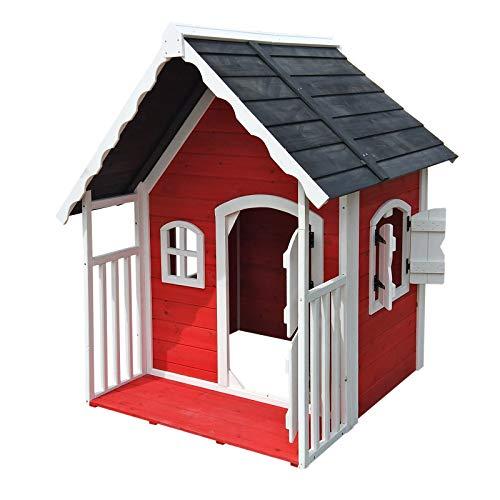Spielhaus für Kinder aus Holz mit Veranda, Fenstern und...