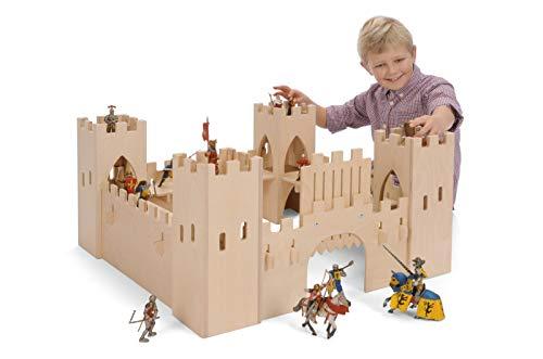 Große Ritterburg aus Holz (ohne Figuren!) / Maße: 75 x 75 x 37 cm / für Kinder ab 3 Jahren / Hergestellt in...