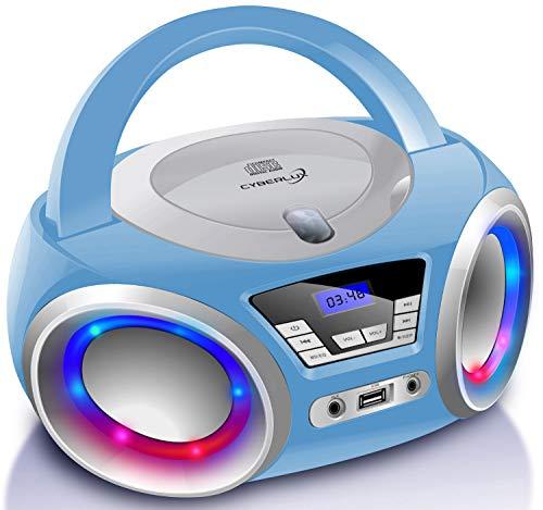 CD-Player mit LED-Beleuchtung | Kopfhöreranschluss | Tragbares Stereo...