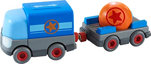 HABA 304820 - Kullerbü – Batterie-LKW mit Anhänger, Zubehör für...