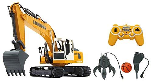 Jamara - 405112 Bagger Liebherr R936 1:20 2,4G Destruction-Set - inklusiv Schalengreifer und Abbruchhammer,...