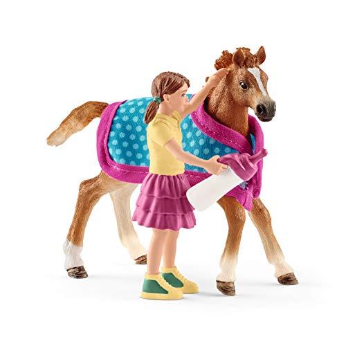 Schleich 42361 Horse Club Spielset - Fohlen mit Decke, Spielzeug ab 5...
