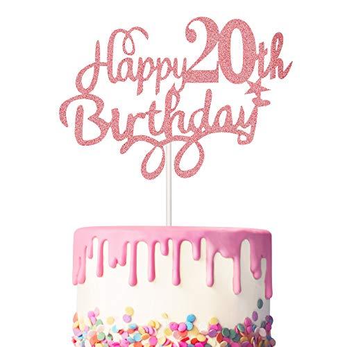 Boao 3 Stück 20. Geburtstag Kuchen Topper Happy 20th Birthday Kuchen...